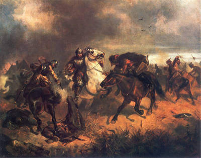 Skirmish with Tartars - Painting by Maksymilian Gierymski